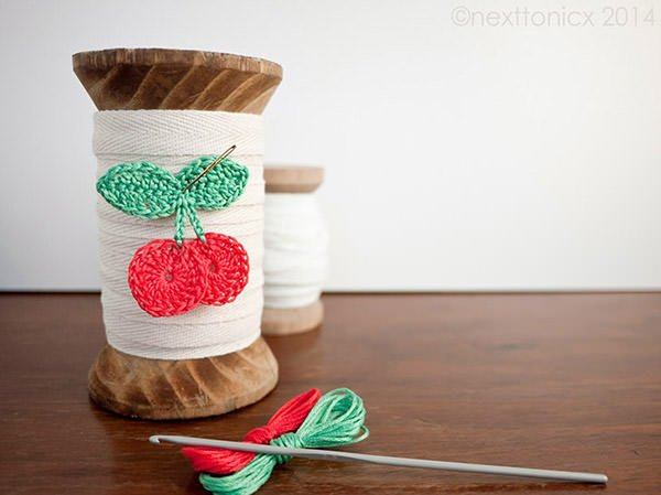 Bust that stash with these fantastic little projects perfect for some stash busting crochet like this awesome cherry appliques!