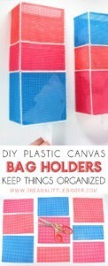 Keep things organized with these DIY plastic canvas bag holders. They cost around $2.50 apiece and keep those shopping bags easy to get to! Perfect for cat owners!