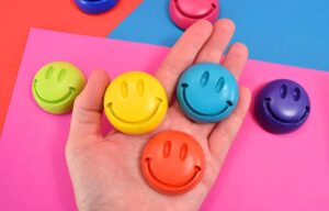 These simple to make smiley face plaster magnets are a rainbow of happiness for your fridge!