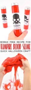 "Make Vampire's Blood slime with this Borax Free Recipe and free ""WARNING"" printable specimen sample labels!"