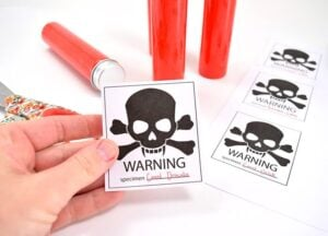"""Make Vampire's Blood slime with this Borax Free Recipe and free """"WARNING"""" printable specimen sample labels!"""