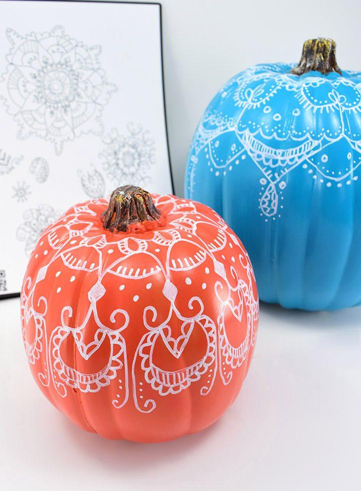 Doodled Henna No Carve Pumpkins