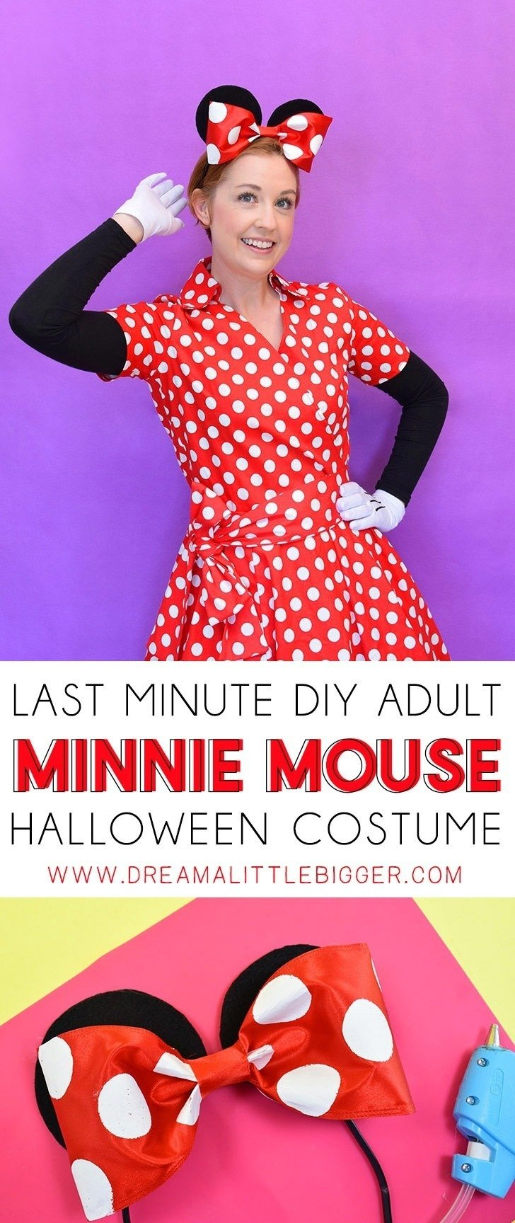 Diy minnie mouse costume for adults dream a little bigger this last minute diy adult minnie mouse costume is the cutest and you can toss most solutioingenieria Choice Image