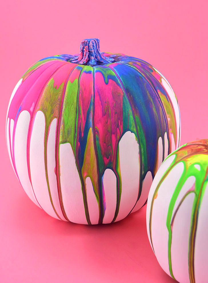 Kid Friendly No Carve Pour Art Pumpkins