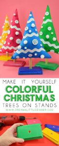 Make these colorful Christmas trees on stands out of felt for holiday decor with some POP!