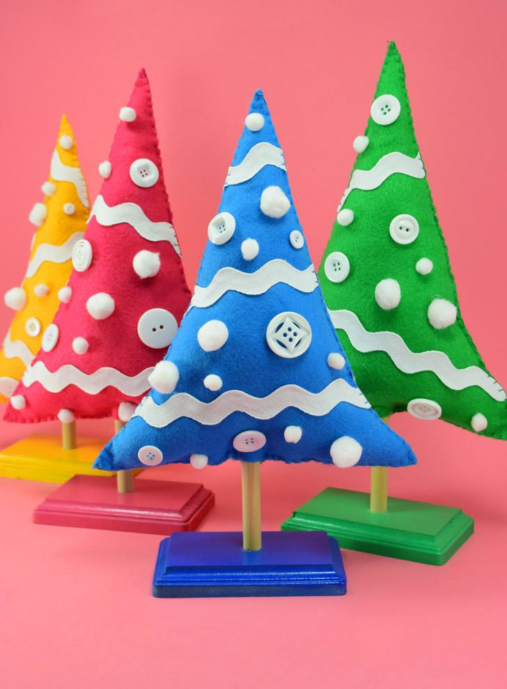 Colorful DIY Christmas Trees on Stands