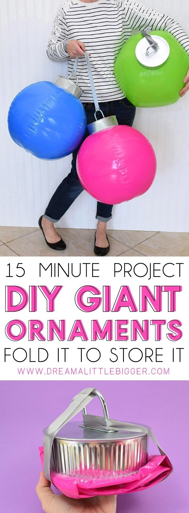 How cool are these DIY giant ornaments? And they fold in on themselves so you can easily store them from year to year!