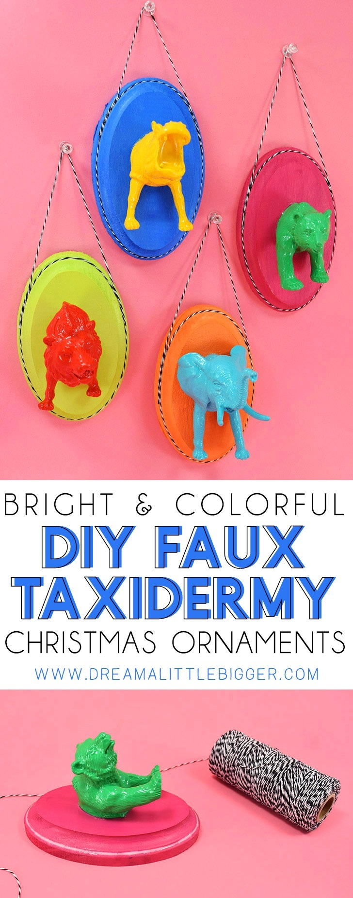 Fun and colorful, these faux taxidermy Christmas ornaments are the perfect way to add a little cute and quirky to your Christmas tree!