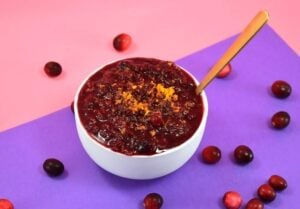 I didn't know it was so easy to make cranberry sauce from scratch! This spiced blue cranberry sauce recipe is so simple and sure to impress guests!