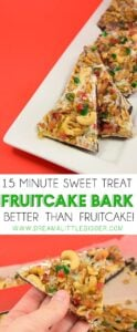 I hate fruitcake but I LOVE this better than fruitcake bark. It's fruit and chocolate and nuts and PERFECTION in less than 15 minutes!