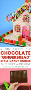 "Is this not the sweetest little Christmas thing you've ever seen? These chocolate ""gingerbread"" style candy houses are perfect for the holidays. They can easily be gluten free, too!"