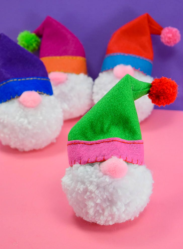 Pompom Gnome Christmas Ornaments