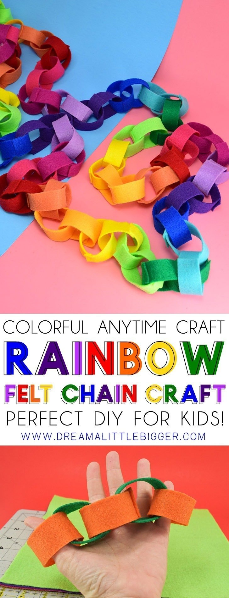 This rainbow felt chain is an inexpensive, colorful craft perfect for the kiddos! Made with felt, it lasts forever, unlike paper, and is super cute decor!