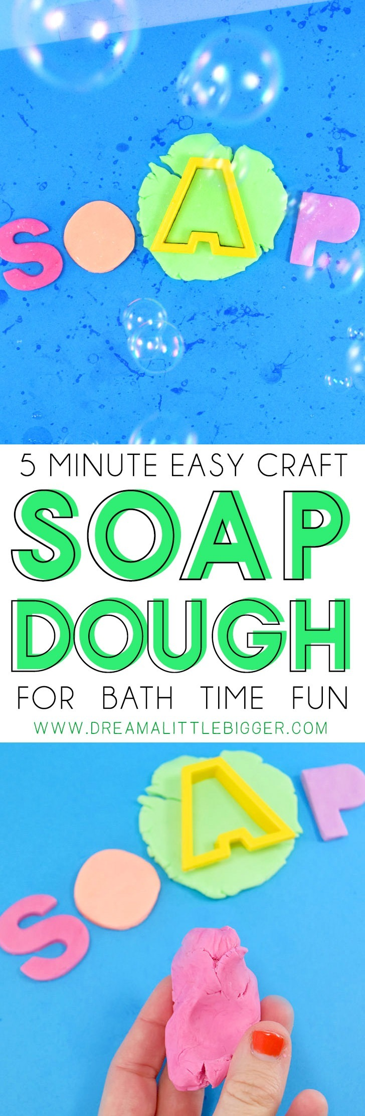 Soap dough is easy to make in only 5 minutes and is serious bath time fun!