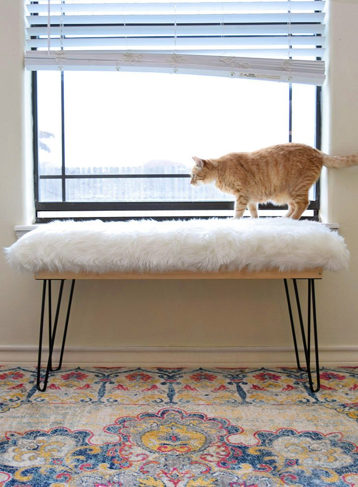 DIY Affordable Furry Bench with Hairpin Legs