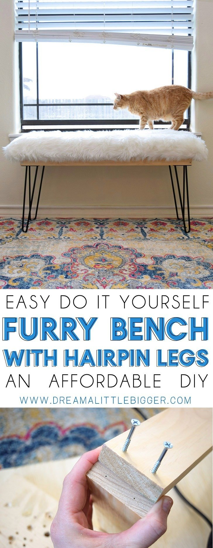Diy Affordable Furry Bench With Hairpin Legs Dream A Little Bigger