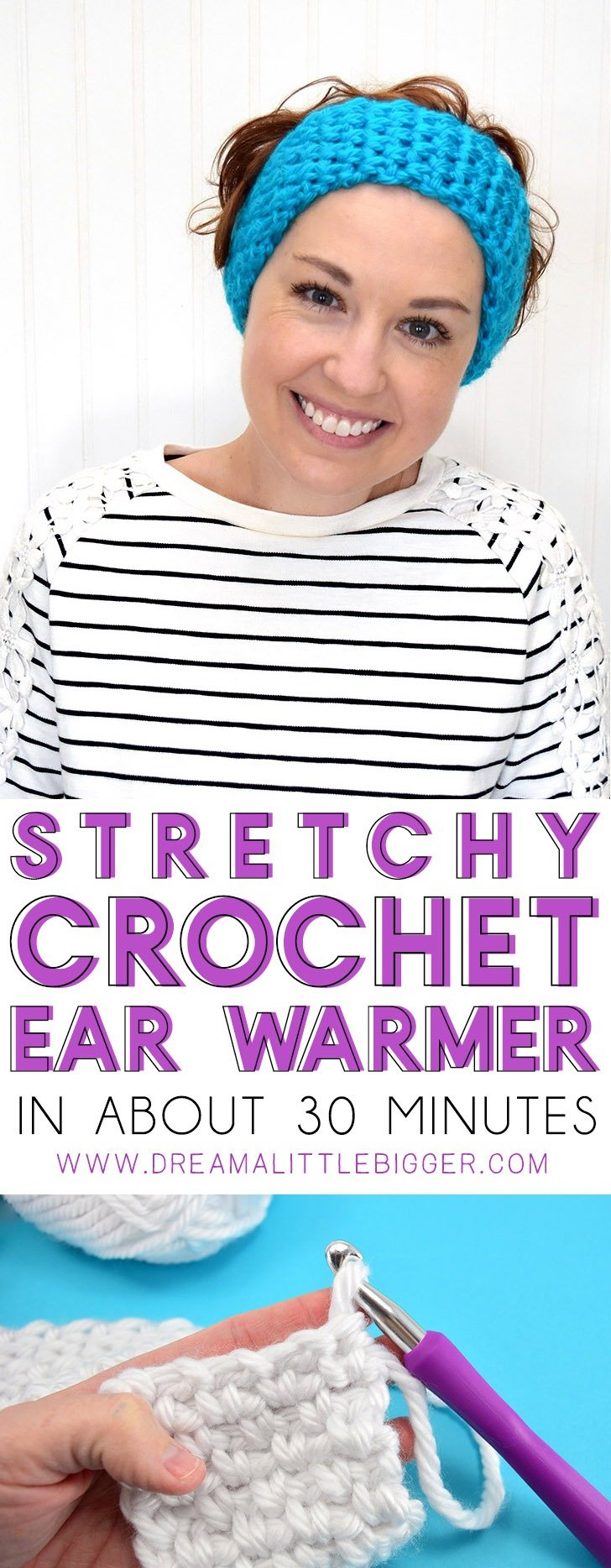 Keep your ears toasty with this inexpensive DIY. This thick and quick pattern whips up the cutest stretchy ear warmer that will fit any size head!