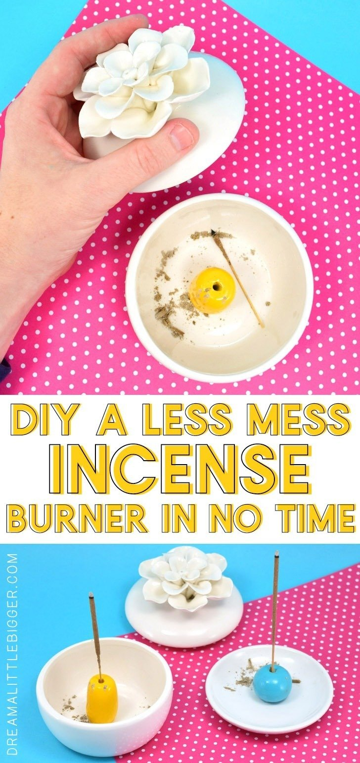 Quickly and easily make this DIY incense burner that catches the mess and can easily be made to hide it away for later clean up, too!