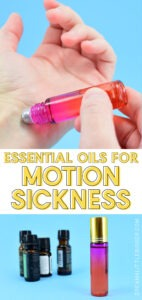 Tired of getting nauseous in the car or seasick? Easy to use, this motion sickness essential oils roll can make travel more fun without medication!