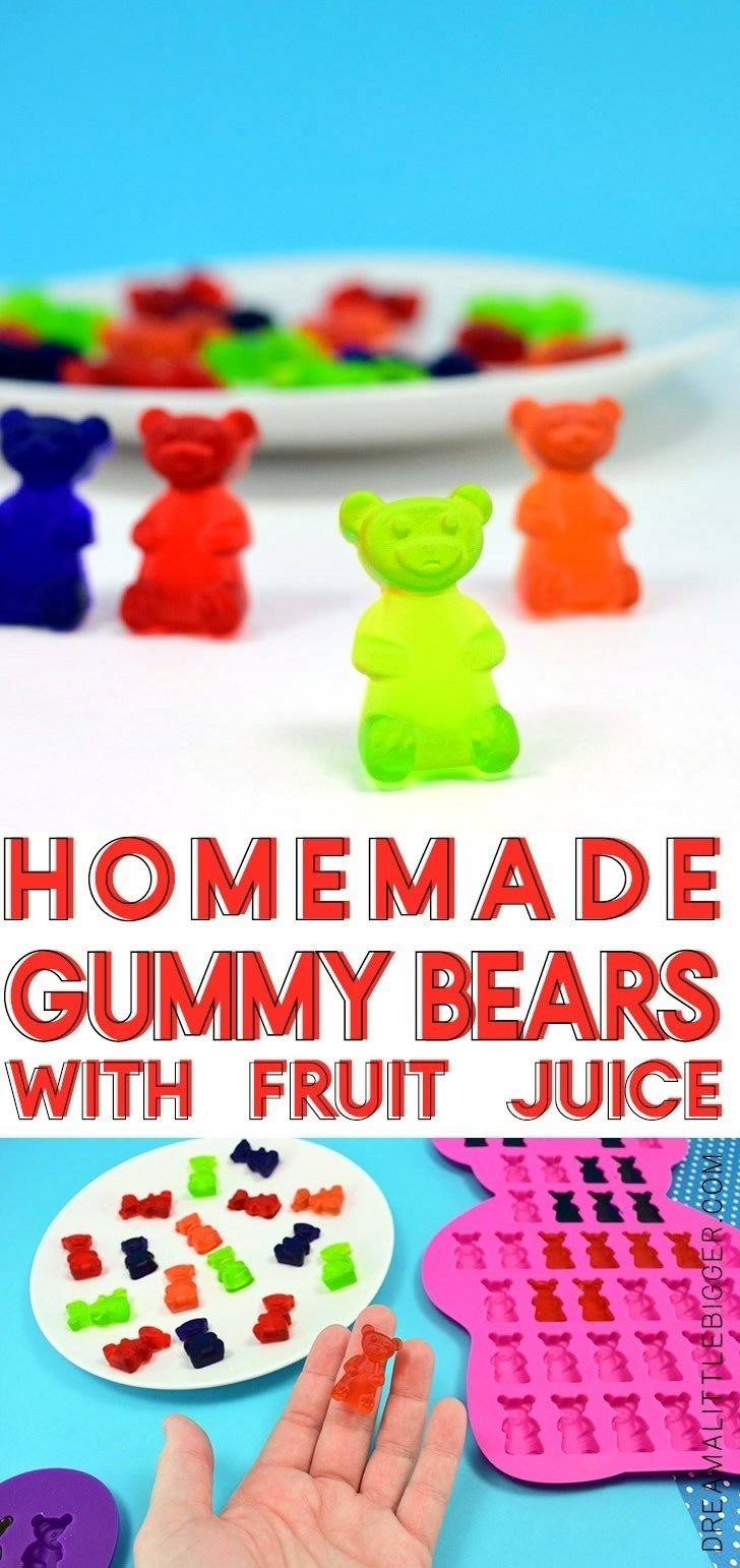 Easily make homemade gummy candy at home using your favorite fruit juice and any silicone mold