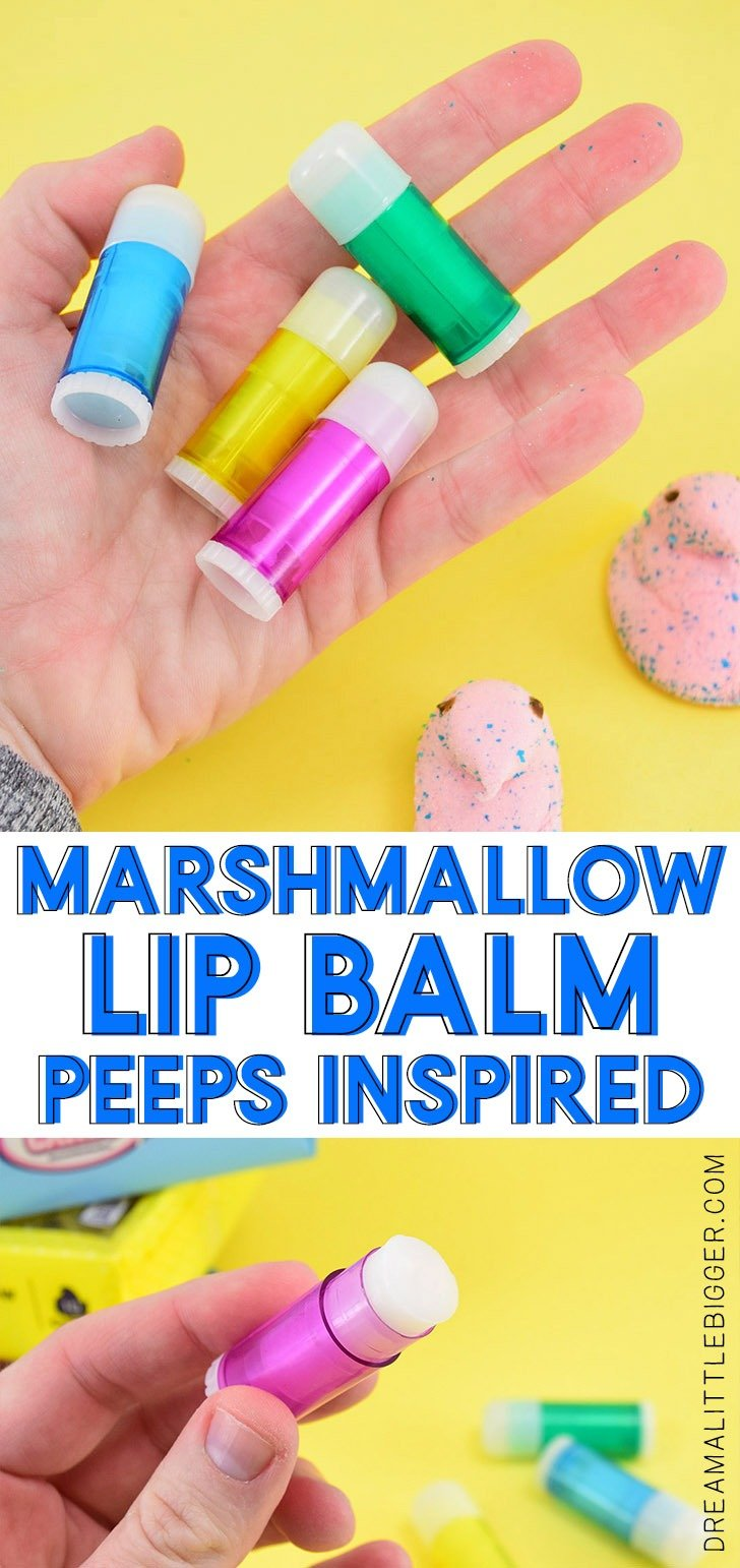 Love Peeps? Easily make marshmallow flavored lip balm at home, reminiscent of your fave spring candy with this simple to follow tutorial!
