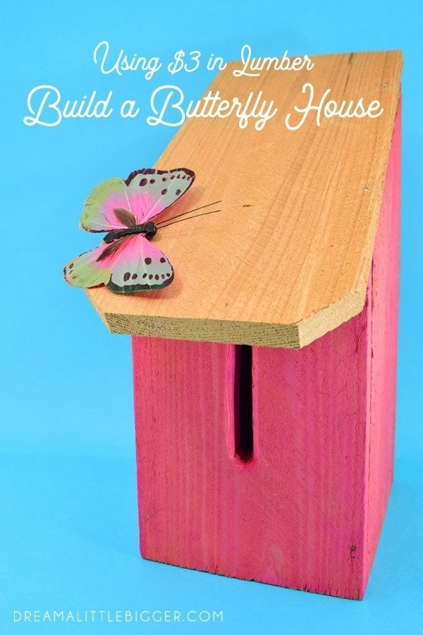 Grab a cedar picket to make a lovely and simple DIY butterfly house. This budget-friendly project works out to only $2 in lumber apiece!