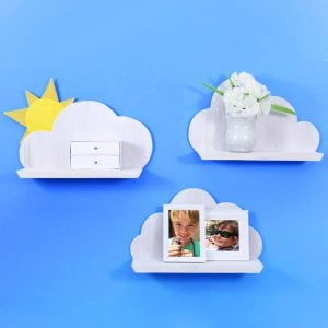 These quirky and adorable DIY wooden cloud shelves are simple to make and are the perfect complement to the decor in a whimsical space or child's room.