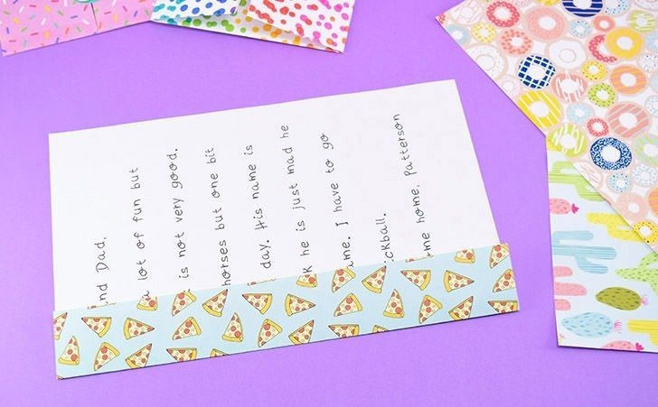 What a fun way for the kiddos to keep up with friends and family this summer, the old way, with snail mail! Show them how to turn a note into an envelope!