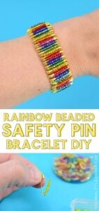 Can you believe this colorful #DIY bracelet is made out of safety pins? No jewelry making tools needed to make this fabulous #rainbow beaded safety pin bracelet! Don't you just love rainbow #crafts?