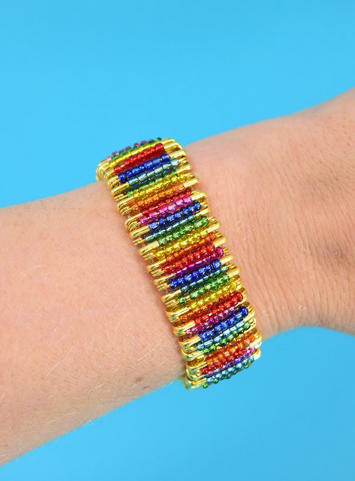 DIY Rainbow Beaded Safety Pin Bracelet