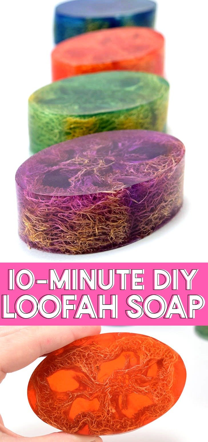 Learn how to make homemade soap, adding loofah to the mix for the perfect exfoliant. Perfect for even a first-time soap maker, these loofah soap bars are super simple and make great gifts!