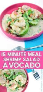 15 minutes is all you need to whip up this shrimp salad stuffed avocado with homemade dressing. It makes a fabulous starter or a tasty quick lunch!
