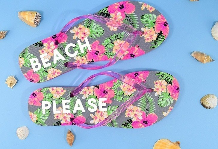 Dollar bin flip flops are so easy to personalize with a little HTV. Monograms, cheeky sayings, images, there are no rules to making your sandals uniquely you!