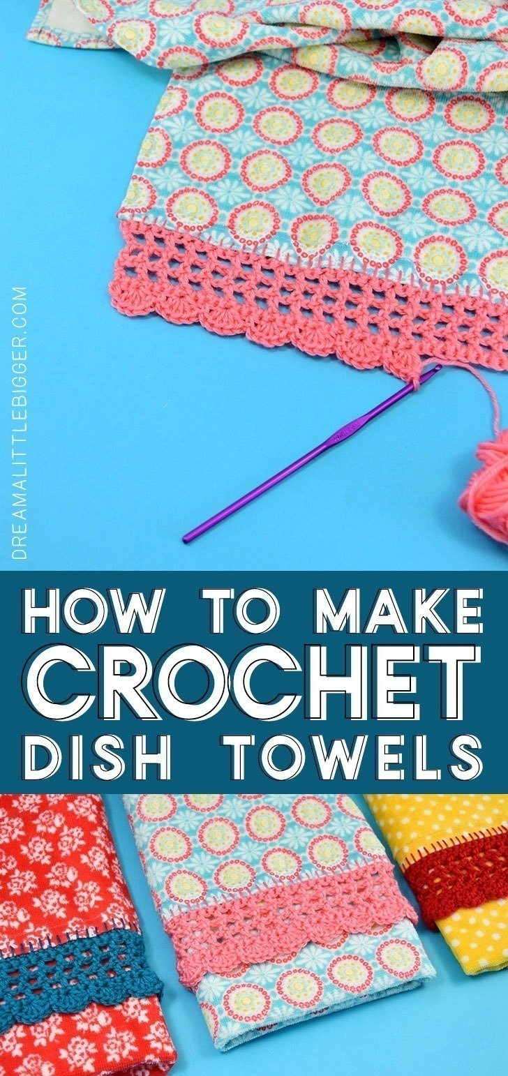 Add a little flair to store bought with a little bit of time and yarn. These crochet edge dish towels may be simple and inexpensive but they'll jazz up the handle on any oven and make a fantastic gift.