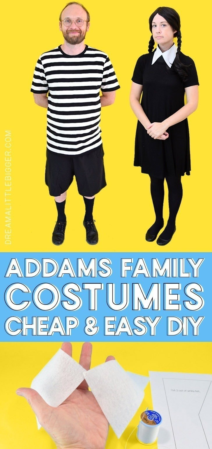wednesday and pugsley addams family halloween costumes - dream a