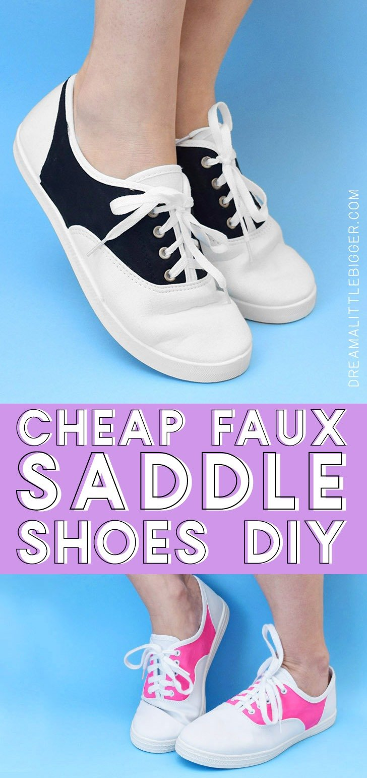 Need a pair of saddle shoes for a costume or just because they are super cute but don't want to spend big bucks on them? Make your own cheap (around 6 bucks!) pair of faux saddle shoes!