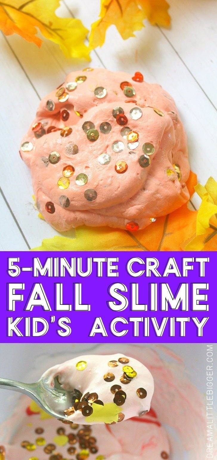 Looking for a fall themed craft to keep the kids busy? This 5 minute fall slime is quick, easy, inexpensive and ALWAYS a big hit!