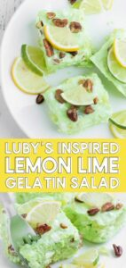 Looking for a unique and interesting side dish for a recipe for your fave dessert at the beginning of the line at Luby's? Inspired by Luby's Congeal, this lime Jello salad is super easy to make and has a unique flavor that every gelatin lover just loves!