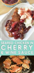 If you enjoy savory dishes with a touch of fruity-sweet, you're going to fall head over heels for this amazing seared chicken with wine & cherry sauce. A simple, yet flavorful one-skillet dish!