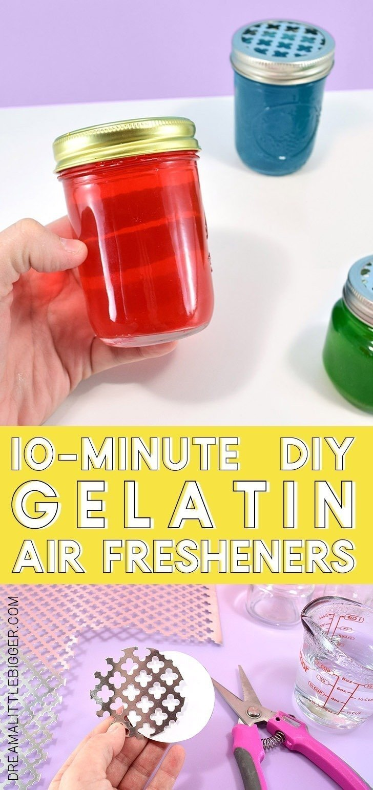 Pep up stale areas or improve smelly spaces, like bathrooms, easily with these 10-minute DIY gel air fresheners you can make in any scent!