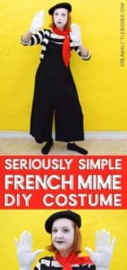 This DIY mime costume is super simple and uses items you probably already have in your closet! It's great for last minute and totally work appropriate!