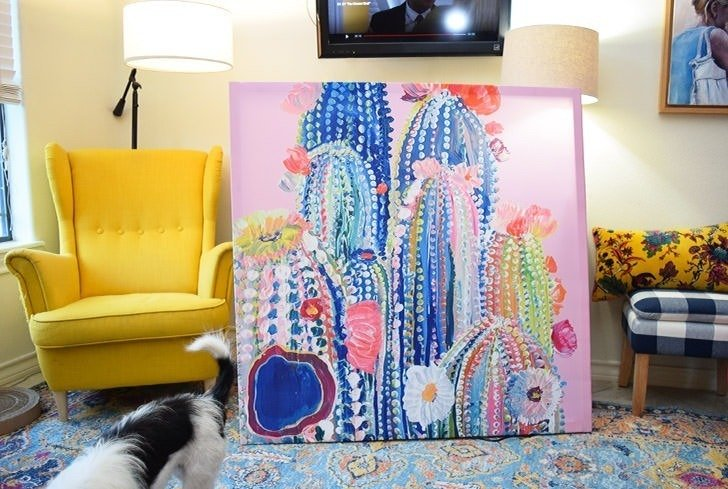 No artistic skill? No problem! This amazing DIY cactus art takes 20 minutes, costs less than $20 and is a whopping 4 foot by 4 foot!