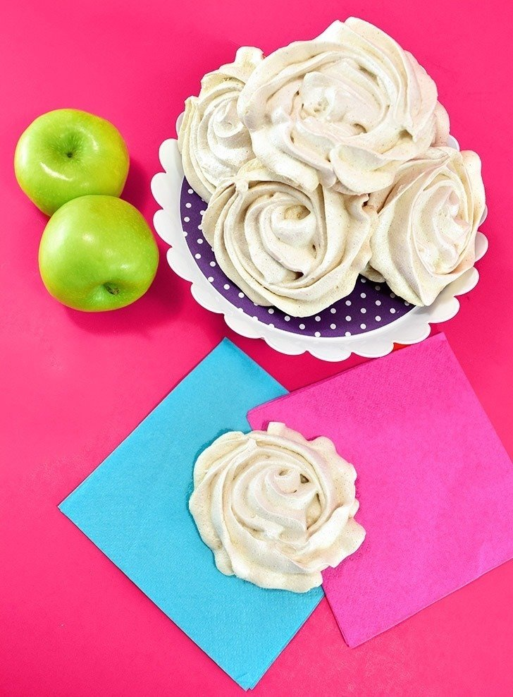 Naturally gluten-free, these light and crisp apple cinnamon meringue cookies are a great sweet treat and a lot of fun to whip up!
