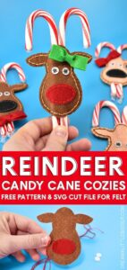 Looking for an inexpensive Christmas gift? These felt reindeer candy cane cozies are super simple to make, darn cute and cost less than a buck apiece!