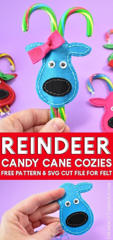 Felt Reindeer Candy Cane Cozies - Dream a Little Bigger