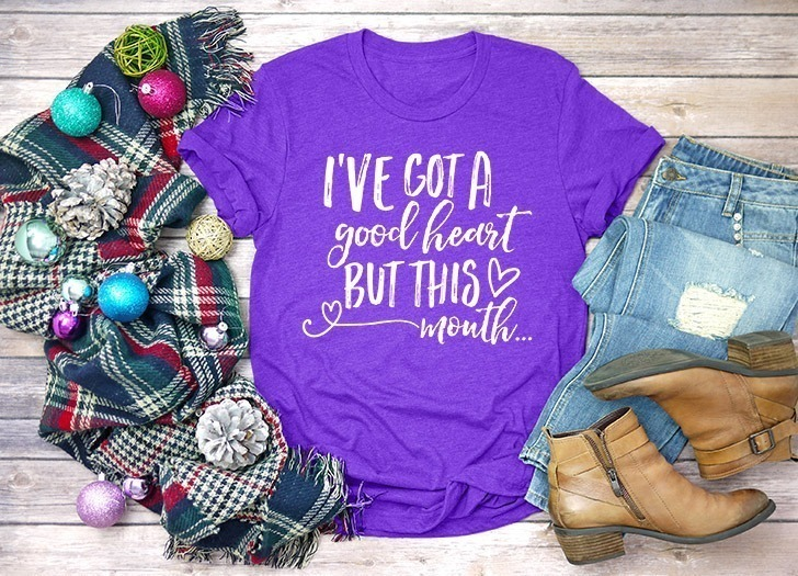 """Know somebody with a good heart and loves colorful language? Grab the free SVG file to make her a shirt that proudly reads """"I've got a good heart but this mouth!"""" Adorable."""