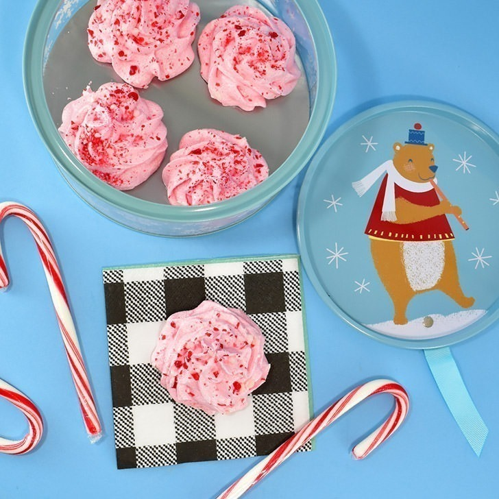 These beautiful peppermint candy cane meringues are perfect for the holidays and sure to impress your guests! Plus, they are naturally gluten and fat free!