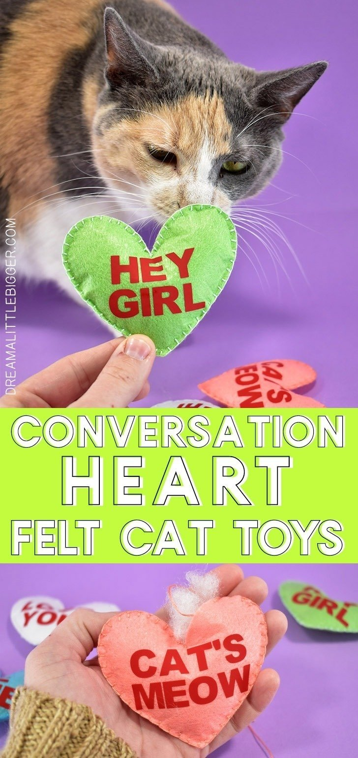 What a cute way to share Valentine's Day with your kitties! These adorable conversation heart felt cat toys are adorable and filled with catnip!