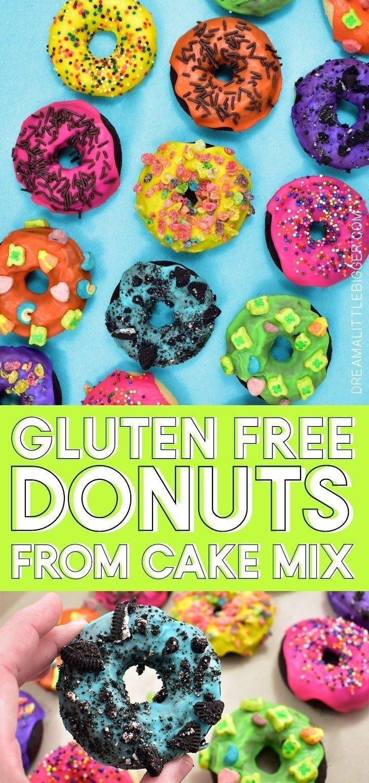 These scrumptiousgluten-freedonuts are whipped up in just 20 minutes or less because we start with cake mix and a sweet way to start the day!