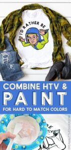 Combine HTV and paint can to achieve the look you're going for when you just can't find the right color of vinyl. Great when you can't find skin tone HTV!